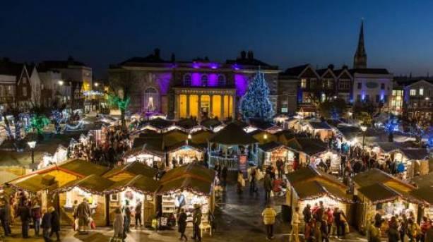 Stalls at Salisbury Christmas Market