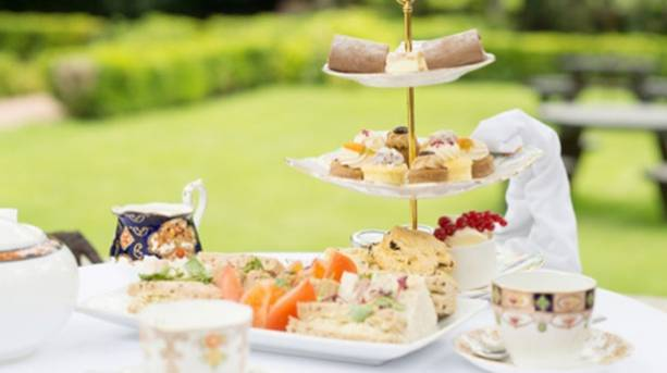 Afternoon tea on the terrace at Ye Olde Bell hotel