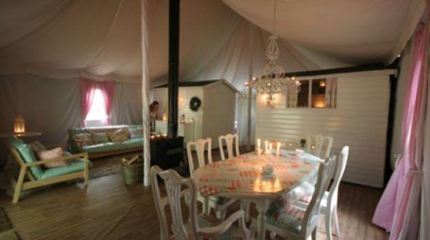 Inside a tent at Jollydays Camping