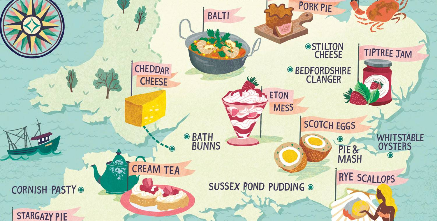 Illustrated map of famous English foods