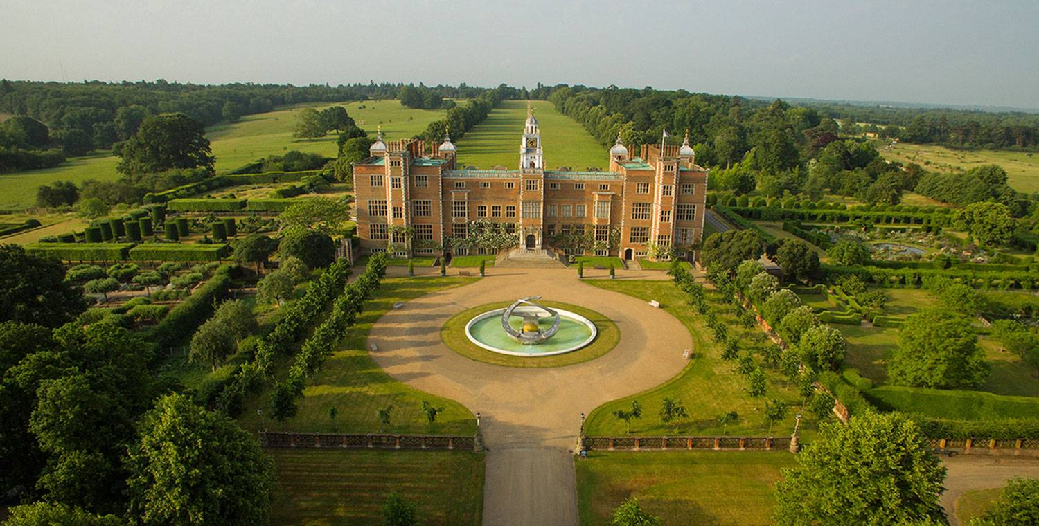 Arial shot of Hatfield House and gardens, Hatfield, England