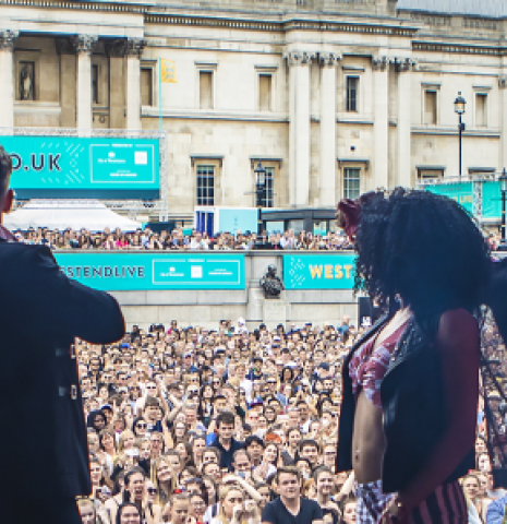 A West End theatre act on stage at West End Live 2018 in Trafalgar Square.