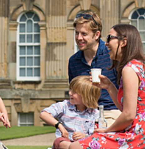 A family enjoying a picnic outside Castle Howard in Yorkshire.
