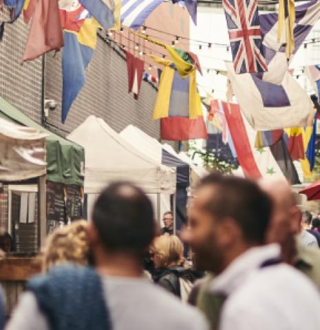 A street market in London, England.