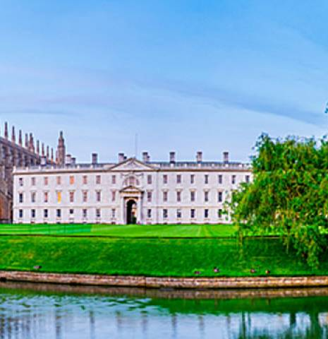 Panoramic view of the River Cam and iconic colleges of Cambridge