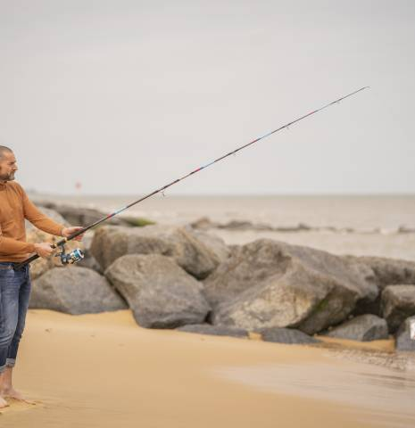 Fred Sirieix fishing on Southwold Beach