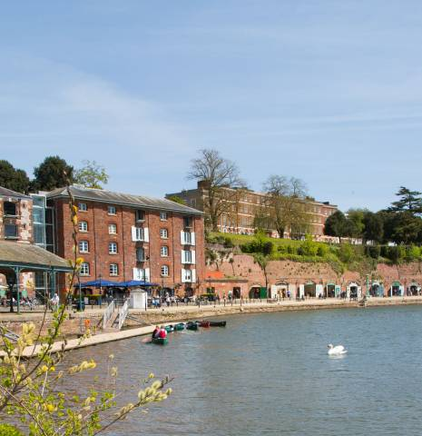 View of Exeter's Quayside with riverside restaurants