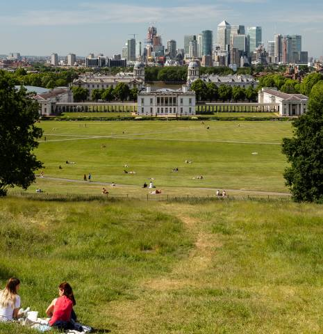 View across Greenwich Park towards the city
