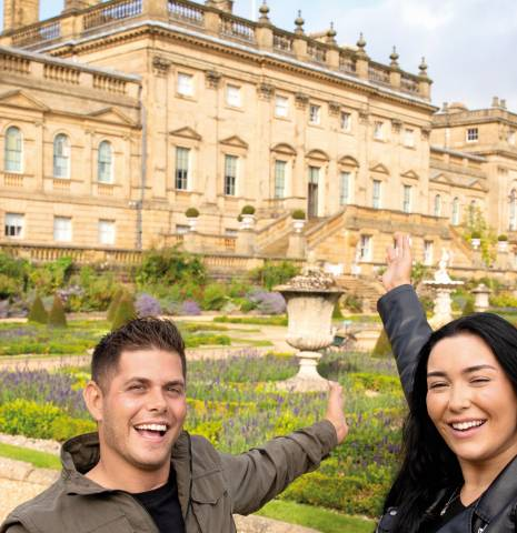 Couple taking a selfie in front of Harewood House