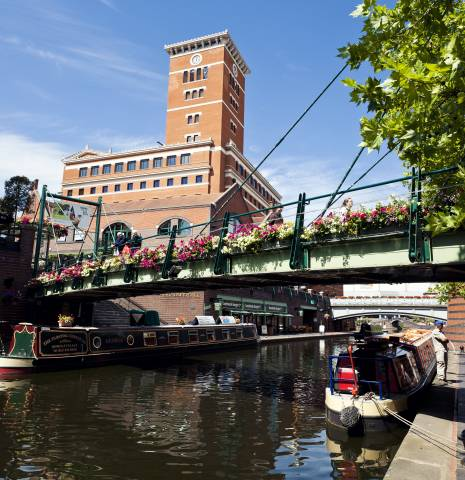 A view of Brindley Place in Birmingham during the summer.