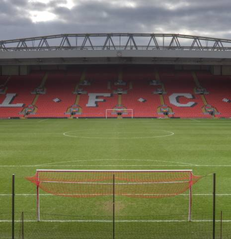 Anfield Stadium in Liverpool, one of England's most historic football grounds.