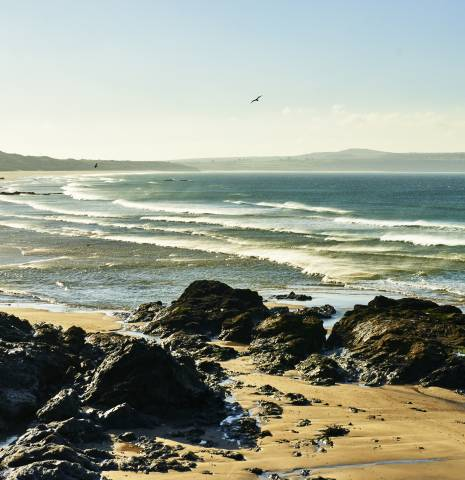 A beach overlooking St Ives Bay in Cornwall.