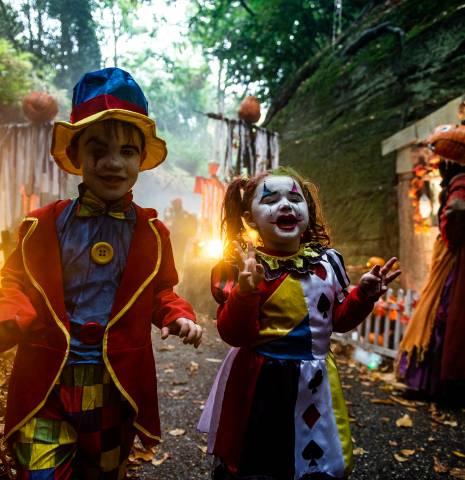 Children in fancy dress at Warwick Castle