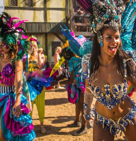 Carnival performers at Boomtown Festival