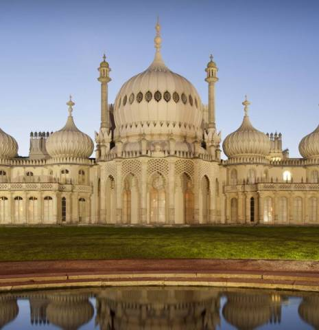 The historic seaside town of Brighton. The Brighton Pavilion, an 18th century Indo-Saracenic palace building designed by John Nash, with domes and minarets