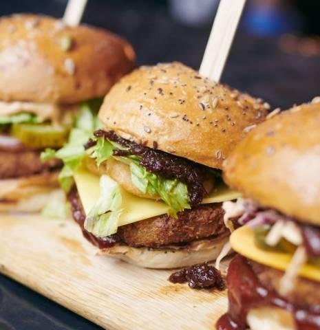 Close up of burgers at Biffs Jack Shack, The Kerb Street Food Market, The Gherkin, London