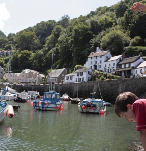 Children crabbing from the habour wall, Lynmouth, Devon, England.