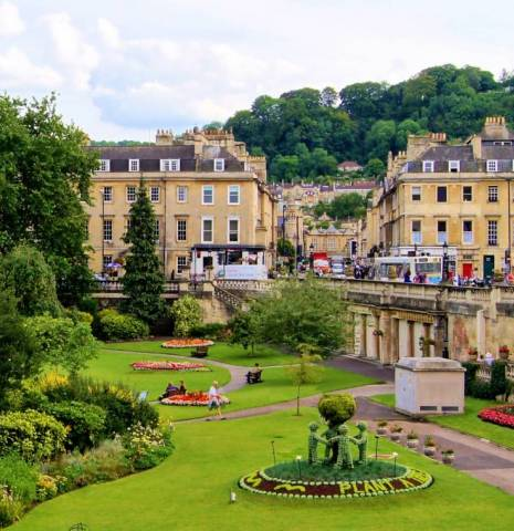 View over a park in Bath, England.