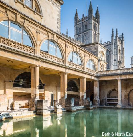 The historic Roman Baths in Bath, now reopen following a new renovation for 2021.