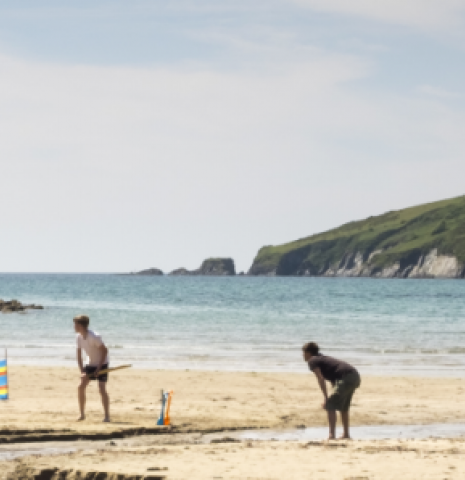A group of people playing cricket on a scenic stretch of English coastline.