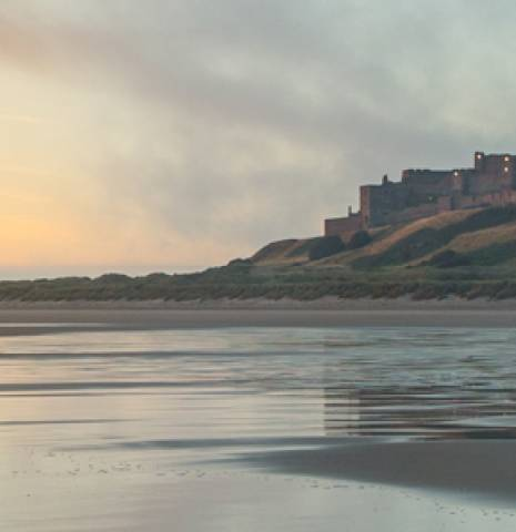 View of Bamburgh Castle on the Northumberland coast