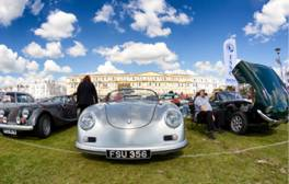 Combine blue skies with vintage cars on England's south coast