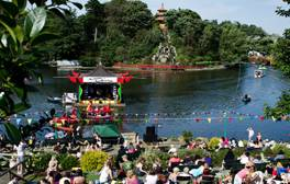 Waterfalls, row boats and a pagoda in Peasholm Park