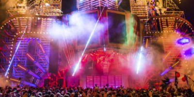 An action-packed stage at Boomtown Fair, one of England's many great music festivals.