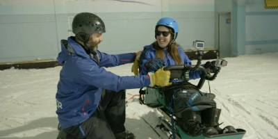 Rosie in a sit ski at Chill Factore