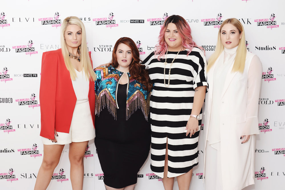 Louise O'Reilly, Tess Holiday, Nicolette Mason, and Hayley Hasselhoff at The Curve Fashion Festival © Simon Wisbey
