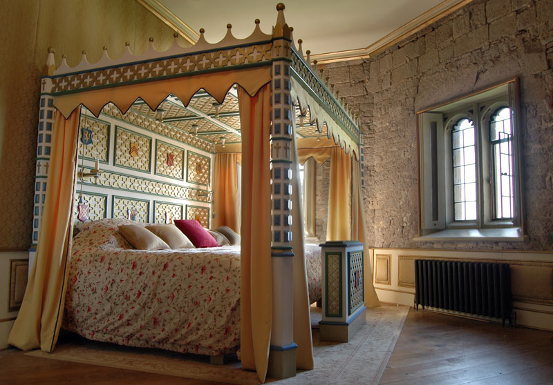 A four-poster tudor bed dominates one of Thornbury Castle's grand rooms