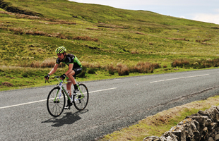 Cyclist on the road in Yorkshire