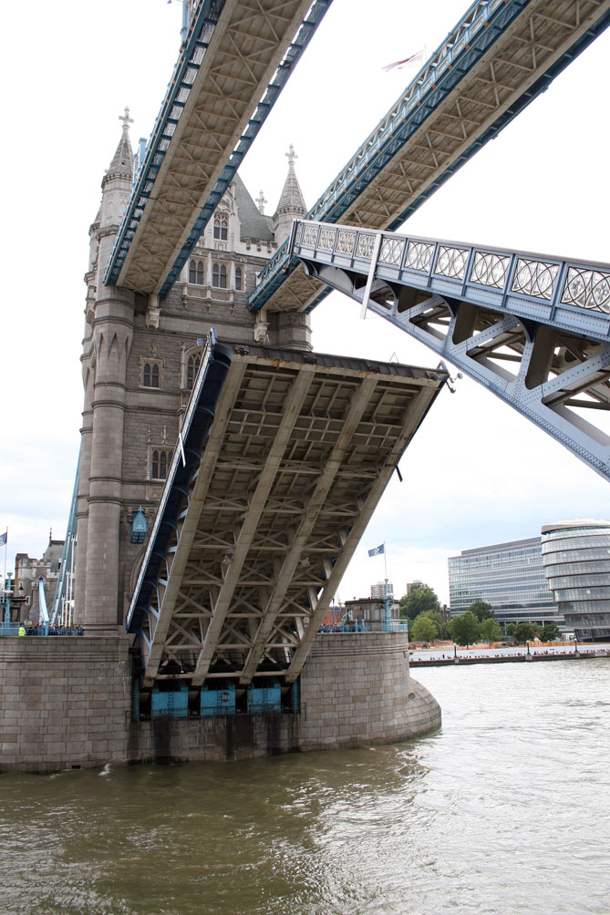 Tower Bridge raised