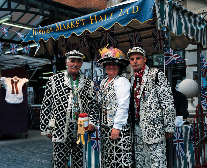 Dapper Pearly Kings and Queen in London's Covent Garden