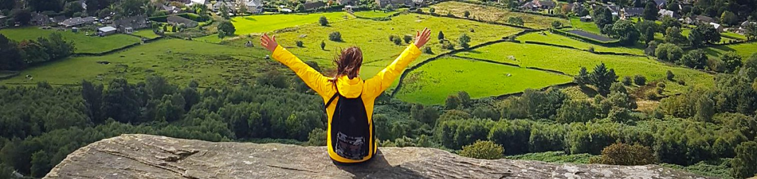 Enjoying the view from Curbar Edge, Hope Valley, Peak District