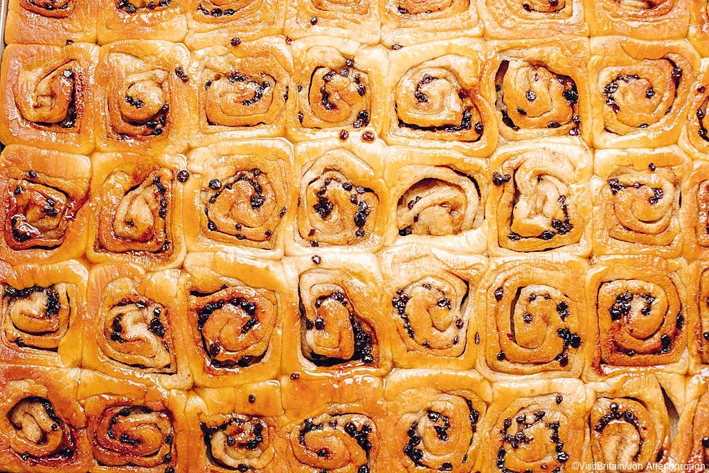 A tray of traditional Chelsea bun at Fitzbillies Restaurant and Cafe, Cambridge, Cambridgeshire, England.