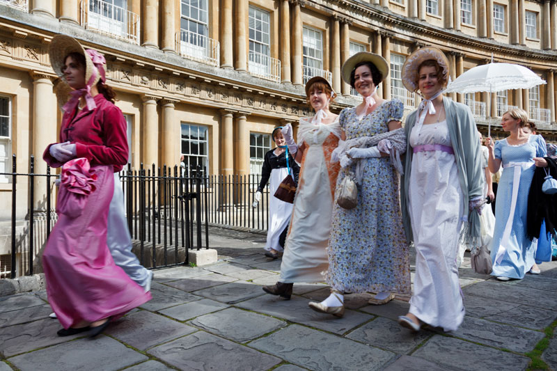 Jane Austen super fans dressed in regency clothes in Bath…