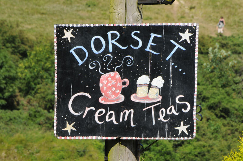 A delightful hand-drawn sign for cream tea in Dorset