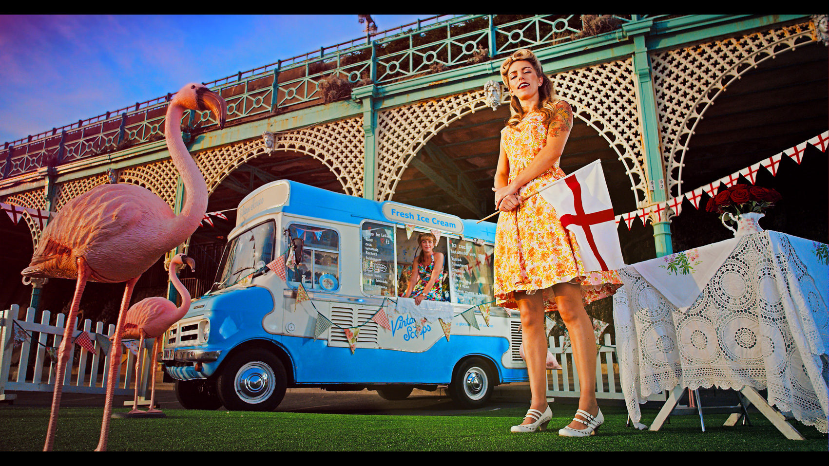 Rugby World Cup TV ad still of an ice cream seller standing outside her van in Brighton