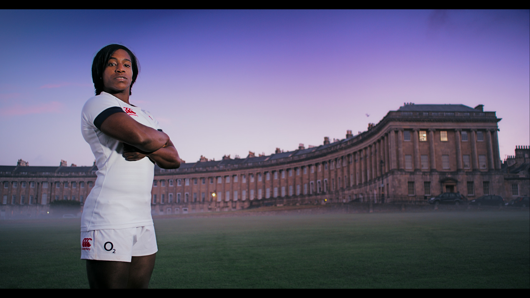 Rugby World Cup TV ad still of Maggi Alphonsi standing in front of the Royal Crescent in Bath
