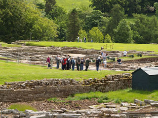 Visitors on site at the Roman Vindolanda, a Roman auxiliary fort just south of Hadrian's Wall
